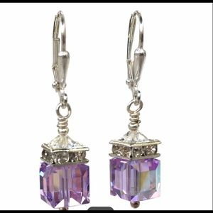 Swarovski Rainbow Crystal Cube Earrings